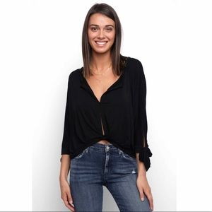 NWT Free People Black 3/4 Sleeve Top